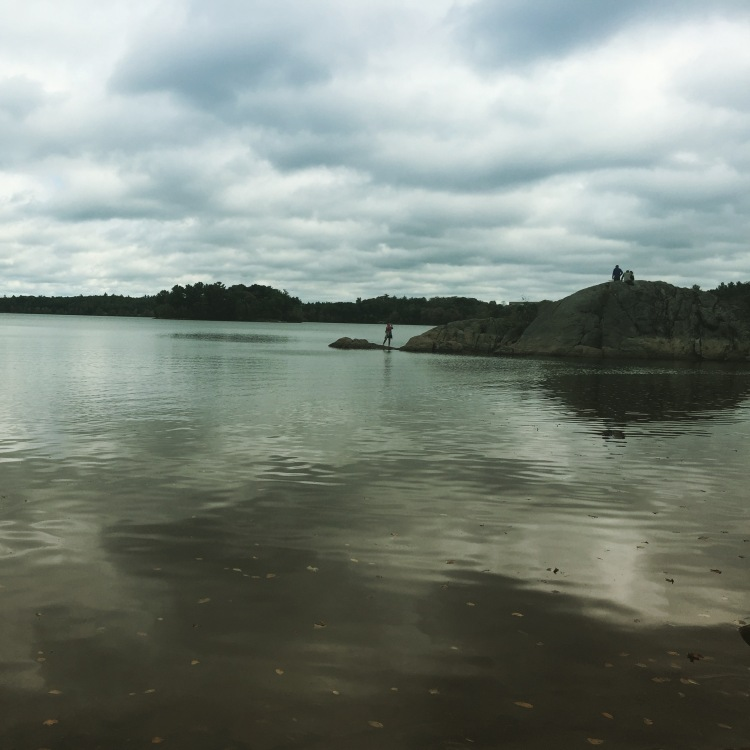 Photo is of a pond with land and clouds in the background.